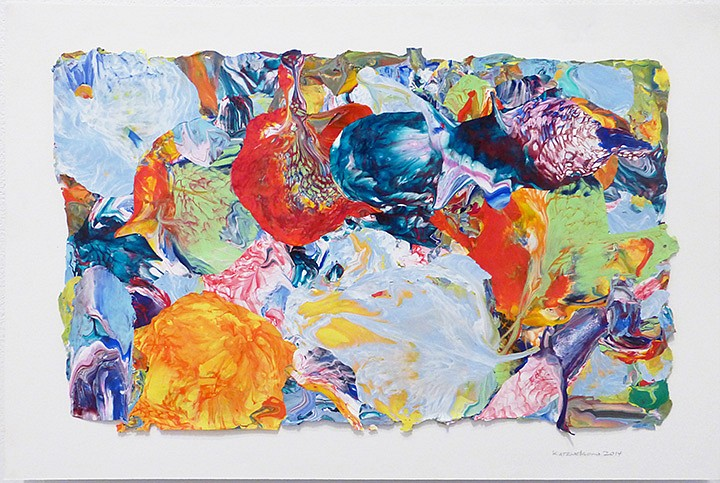 Vadim Katznelson ,   Untitled  ,  2014     Acrylic paint on Lanaquarelle paper ,  12 x 17.75 inches (30.5 x 45 cm)     (a)