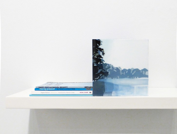 Maria Park ,   Bookend Set 8  ,  2014     Acrylic on plexiglas cube and 4 books on shelf, Books: Saviana Stanescu, Aliens With Extraordinary Skills, Samuel French (2009); Eugene Ionesco, Rhinoceros, Royal Court (1960); Theatre Workshop, Oh What a Lovely War, Methuen (1989); Samuel Beckett, ,  Happy Days, Faber (1970), Cube: 7 x 7 x 7 inches (17.75 x 17.75 cm) Shelf: 1.5 x 24 x 8 inches (4 x 61 x 20 cm)