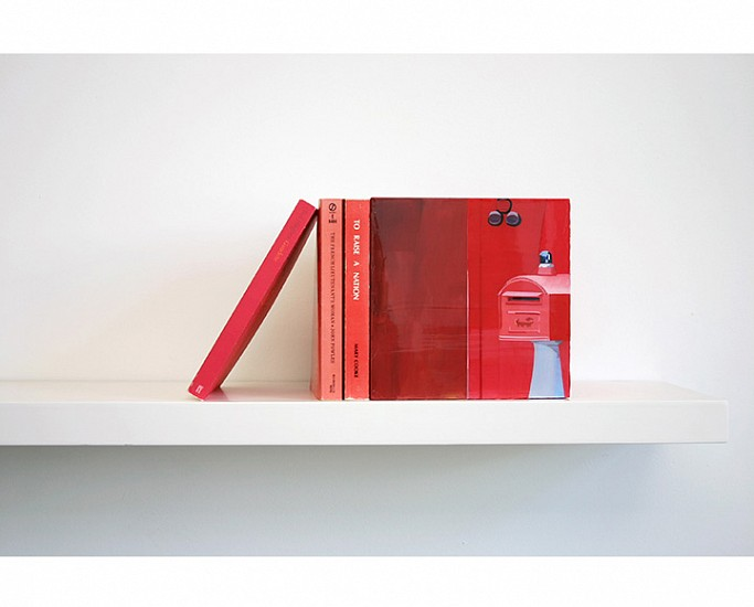 Maria Park ,   Bookend Set 5  ,  2014     Acrylic on plexiglas cube and 3 books on shelf, Books: Ted Hughes, Gaudette, Faber and Faber (1977); John Fowles, The French Lieutenant's Woman, Signet (1969); Mary Cooke, To Raise a Nation, Hawaiian Mission (1978) ,  Cube: 7 x 7 x 7 inches (17.75 x 17.75 cm) Shelf: 1.5 x 24 x 8 inches (4 x 61 x 20 cm)