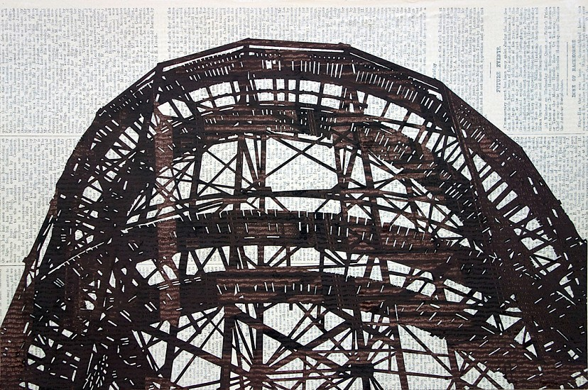 William Steiger ,   Cyclone Rollercoaster #2  ,  2016     Collage with gouache, glue and found paper, on paper ,  Framed: 15 x 19.75 inches (38 x 50 cm)