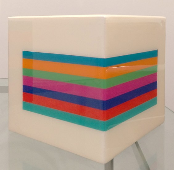 Heidi Spector ,   Positive Space  ,  2014     Liquitex with resin on birch cube ,  7 x 7 x 7 inches (18 x 18 x 18 cm)