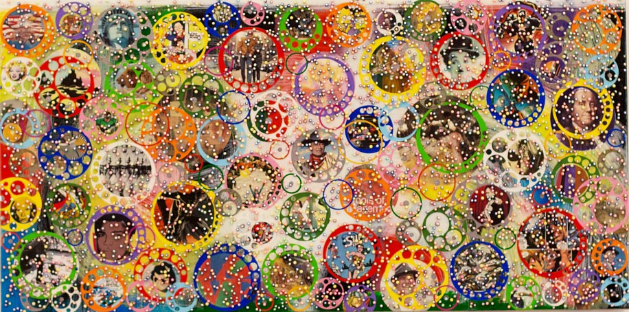 Nobu Fukui ,   GINZA  ,  2016     Beads and mixed media on canvas over panel ,  24 x 48 inches (61 x 122 cm)