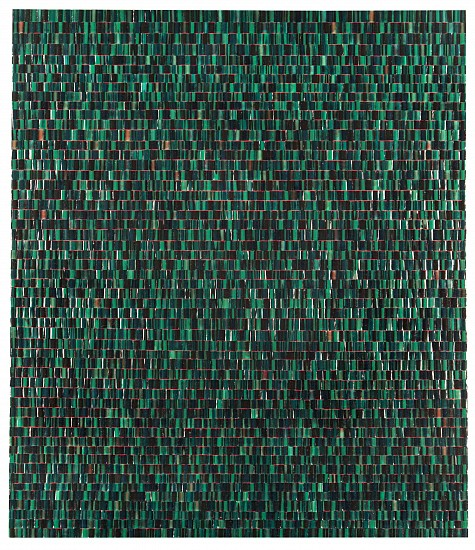 Omar Chacon ,   Ich Liebe Green...Bogota Emerald Green  ,  2018     Acrylic on canvas ,  30 x 26 x 1.5 inches (76 x 66 x 4cm)