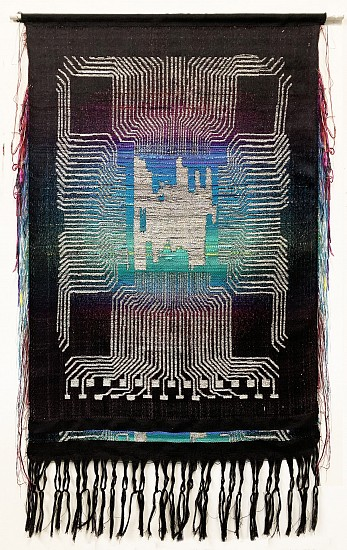 Robin Kang  ,   Light Intel (Side A and B)  ,  2019     54 x 26 in (137 x 66 cm)     Hand Jacquard woven cotton, metallic iridescent yarns, and mixed media