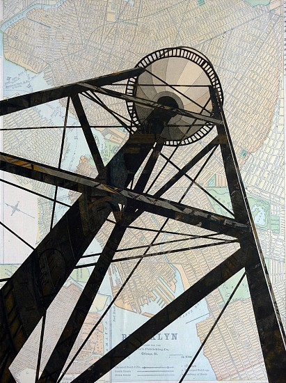 William Steiger ,   Watertower Redhook  ,  2020     Collage of cut found paper, vintage map, gouache, glue, mounted on panel ,  12 x 9 inches (30.48 x 22.86 cm)